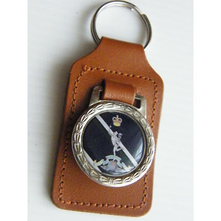 img-THE ROYAL CORPS OF SIGNALS BADGE ARMY MILITARY DETAIL LEATHER KEYRING FOB GIFT