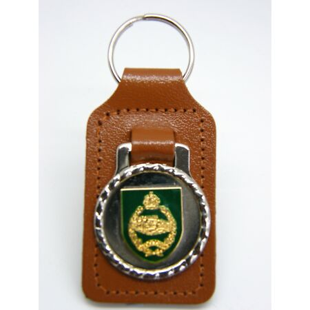 img-THE ROYAL TANK REGIMENT ARMY MILITARY BADGE DETAIL LEATHER KEYRING KEY FOB