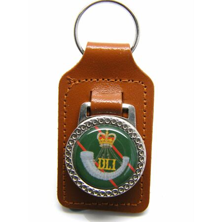 img-THE DURHAM LIGHT INFANTRY ARMY BADGE MILITARY LEATHER KEYRING KEY FOB GIFT