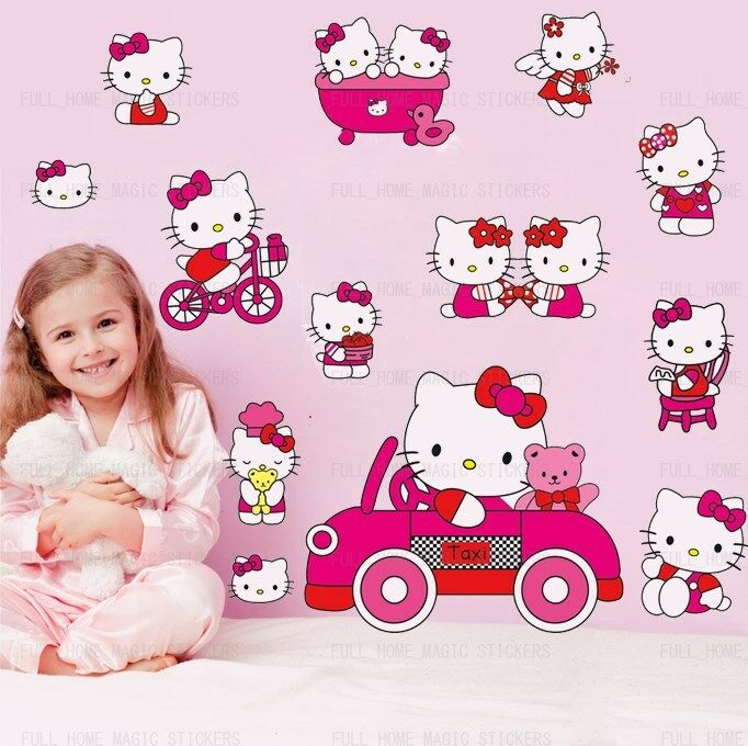 Pink hello kitty art deco mural wall stickers girls room - Deco chambre hello kitty ...