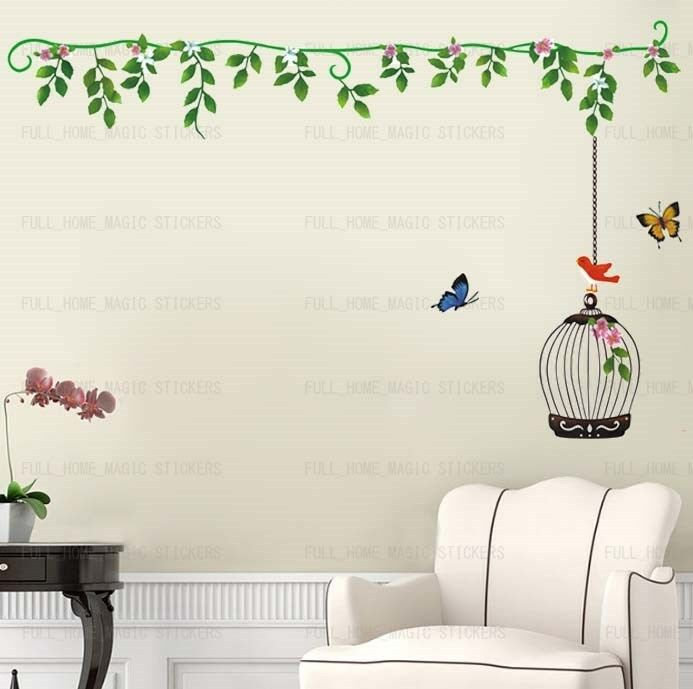 Bird cage vines tree butterfly wall stickers decal vinyl for Butterfly mural wallpaper