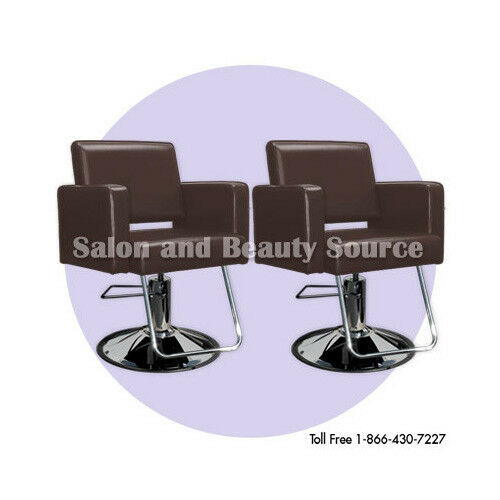 Brown styling chair chairs beauty salon equipment for Hairdressing furniture packages