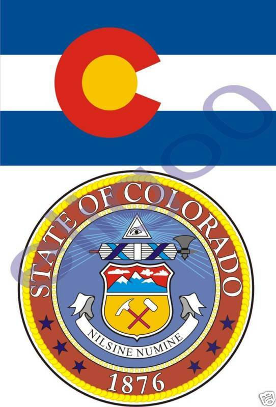 colorado state flag seal 2 bumper stickers decals usa ebay. Black Bedroom Furniture Sets. Home Design Ideas
