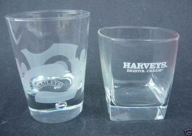 2 Baileys Irish Cream Glass Harveys Bristol Glass Rock Ebay