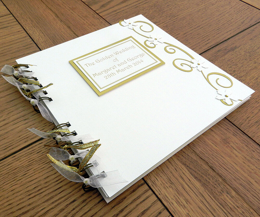 Th anniversary guest book golden wedding photo memory