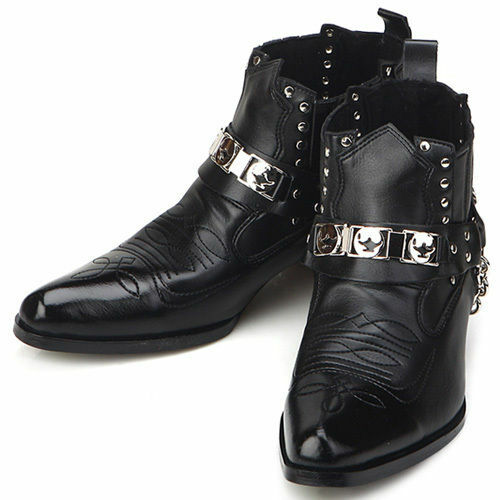 new mens fashion ankle steel black boots shoes all size ebay