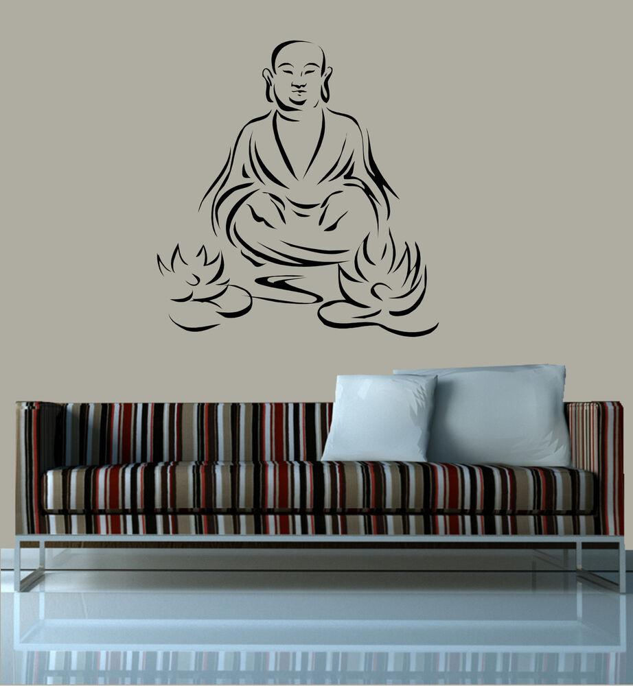 wandtattoo buddha mit lotusblumen h 74 x b 70 cm ebay. Black Bedroom Furniture Sets. Home Design Ideas