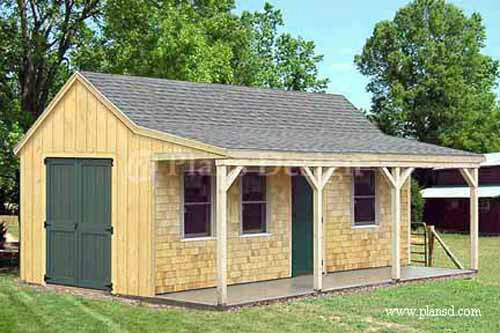 12 39 x 20 39 building cottage shed with porch plans material for Shed with porch