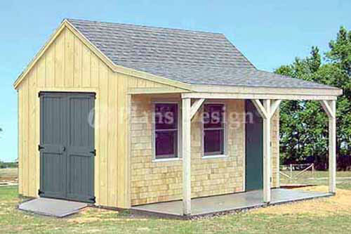 12 39 x 16 39 cottage cabin shed with porch plans 81216 ebay for Garden shed 12x12