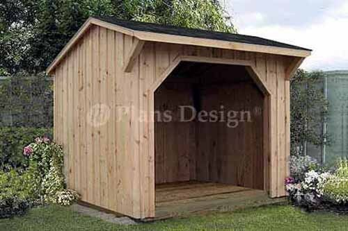 8' x 8' Firewood Storage Shed Plans, Saltbox Roof 70808 ...
