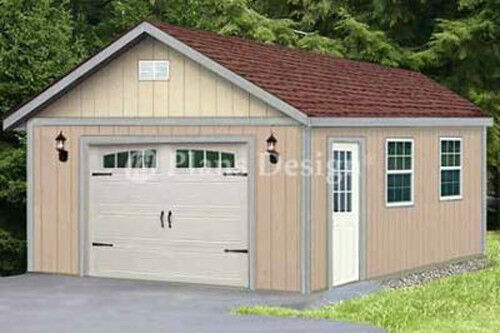 16 x 28 classic gable roof car garage shed plans design for Gable roof garage
