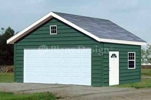 20 X 20 Two Car Garage / Building Blueprint Plans Plans