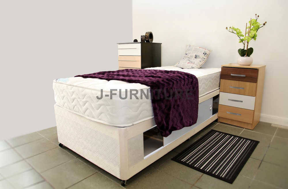 2ft6 small single divan bed with sliding doors on side new for Single divan bed with slide storage