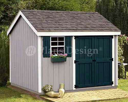 Shed plans 8 x 10 storage utility garden building blueprints design 10810 ebay - Outside storage shed plans plan ...
