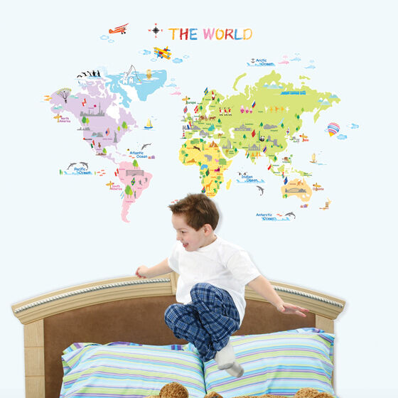 World map removable art deco mural wall sticker ps58200 ebay for Deco mural stickers