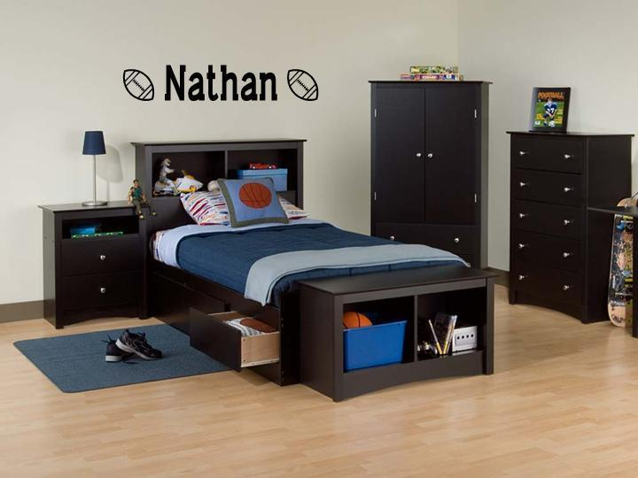 wall decals for bedroom boys name football vinyl sticker wall decal bedroom ebay 17734