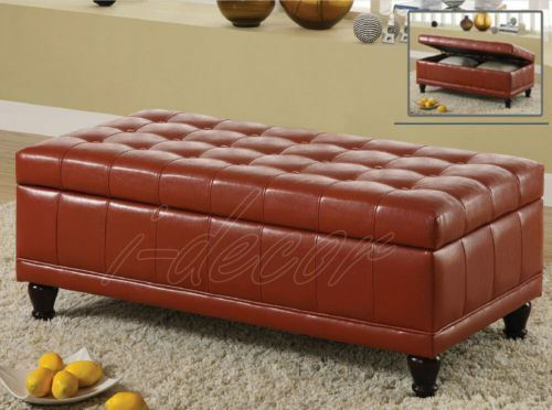 Storage bench ottoman tufted espresso red leather ebay Red leather ottoman coffee table