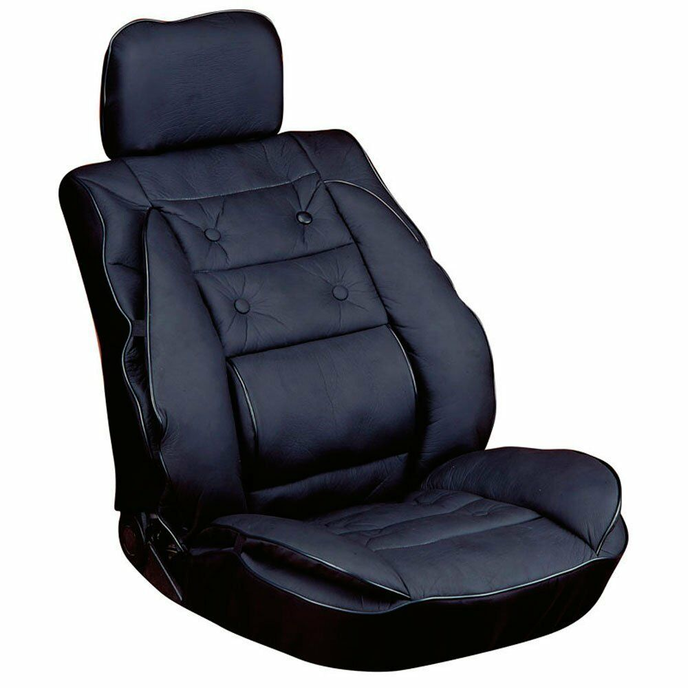 car seat cover cushion with lumbar support black ebay. Black Bedroom Furniture Sets. Home Design Ideas