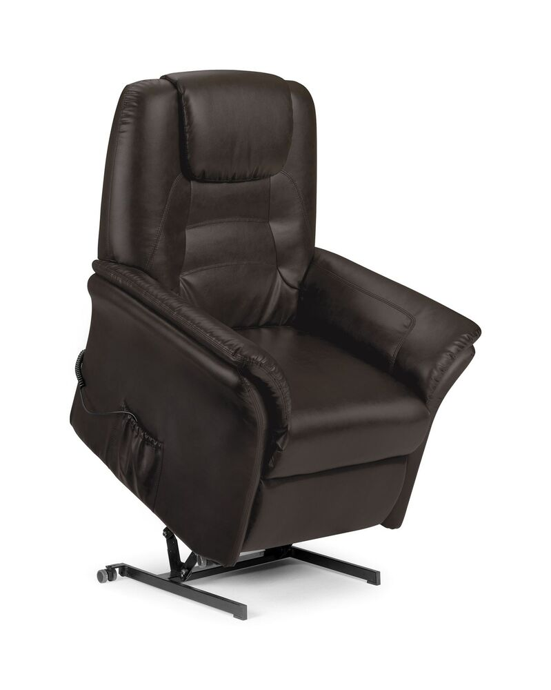 Riva Electric Recliner Chair Brown Faux Leather New