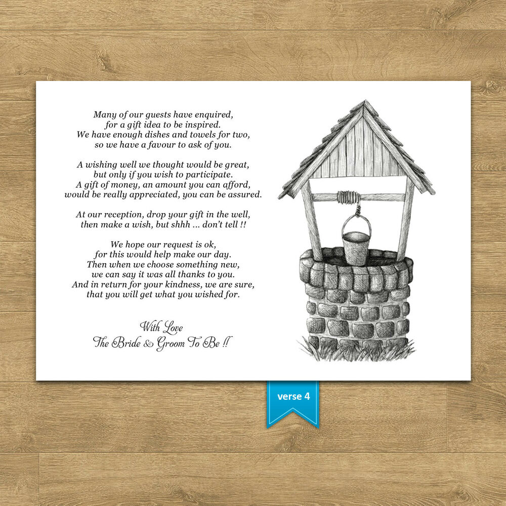 Wedding Gift Poems For Honeymoon Vouchers : Wishing Well Wedding Honeymoon Cash Money Voucher Request Poem Cards ...