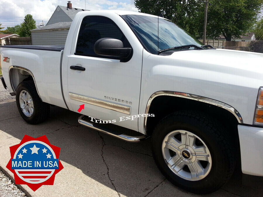 2015 Gmc Sierra 1500 Regular Cab >> 2007-2013 GMC Sierra Regular Cab Chrome Body Side Molding Overlay 4 1/4"