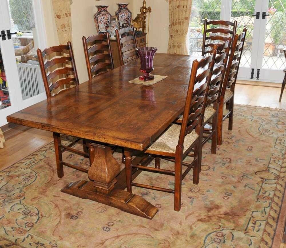 Country Refectory Table And Ladderback Chair Dining Set Ebay