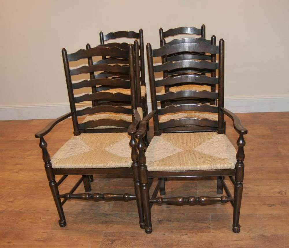 Chairs For The Kitchen: 8 Solid Oak Pad Foot Ladderback Kitchen Chairs