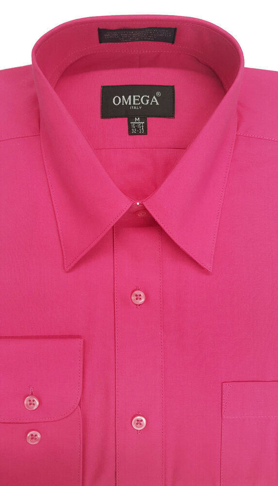 new mens fucshia long sleeve dress shirt all sizes length