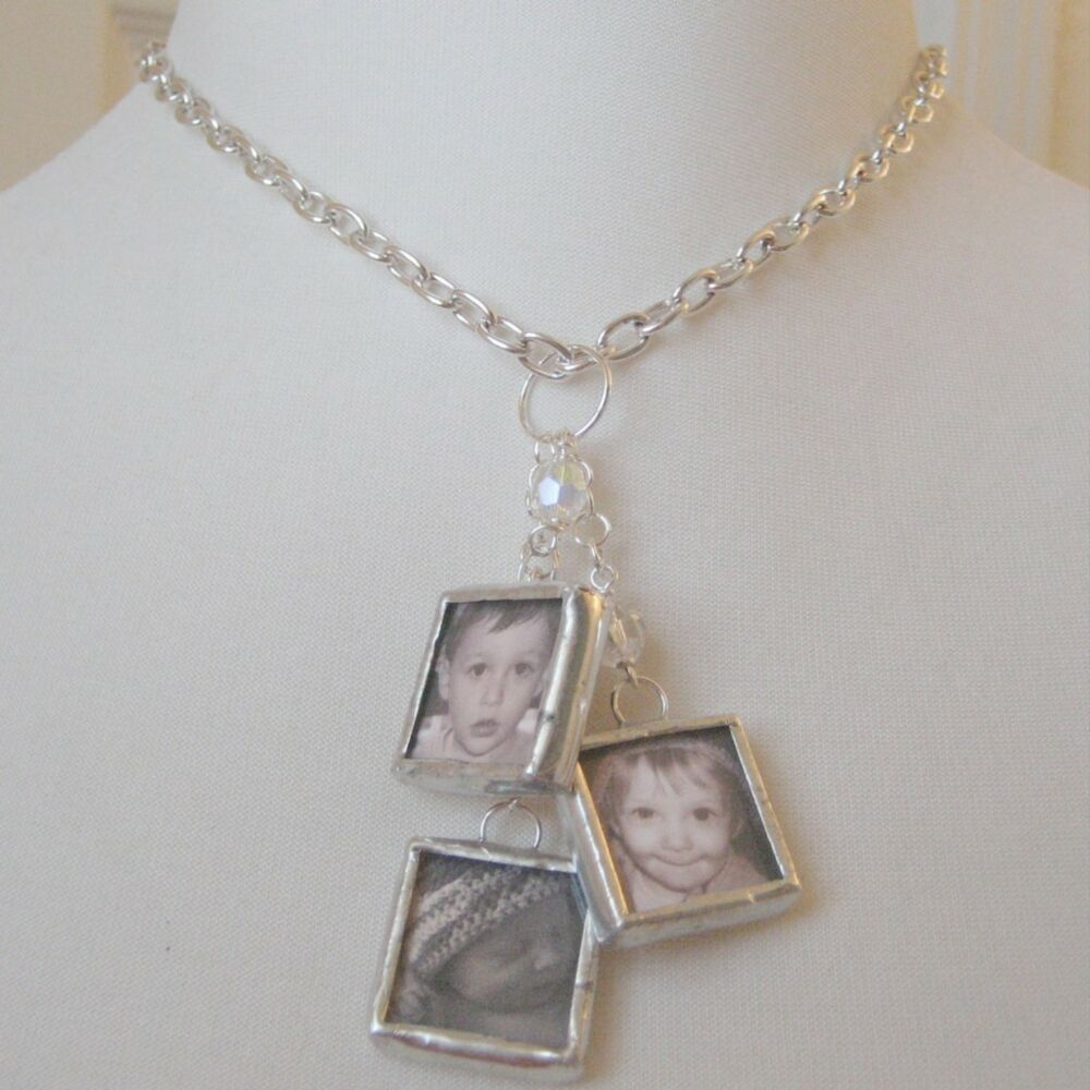 custom keepsake multi photo glass charm dangle necklace