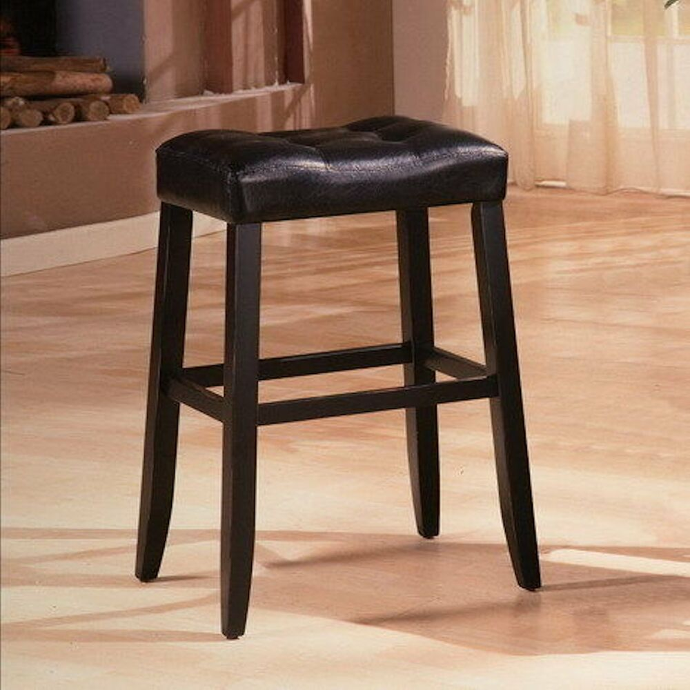 Set Of 2 Black Leather Solid Wood Bar Stool 29 Quot Ebay
