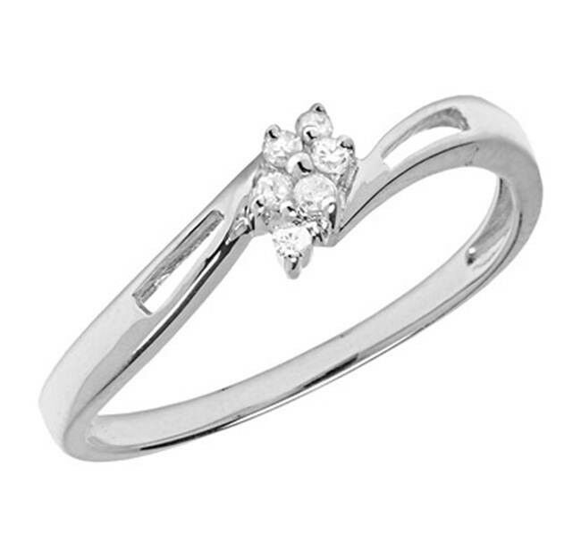 10k white gold genuine cluster promise ring ebay