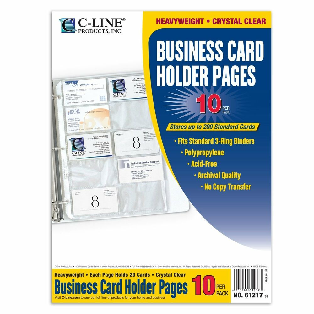 Avery C-Line Clear Business Card Holder 200 Capacity For