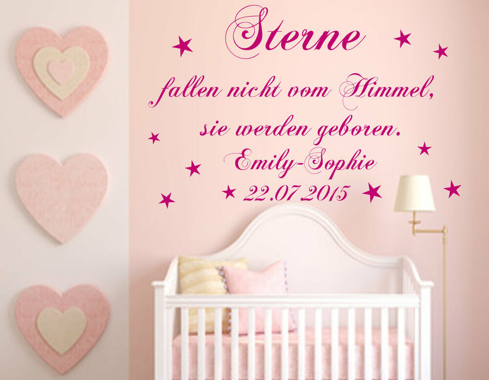 wunschnamen wandtattoo kinderzimmer baby sterne fallen. Black Bedroom Furniture Sets. Home Design Ideas