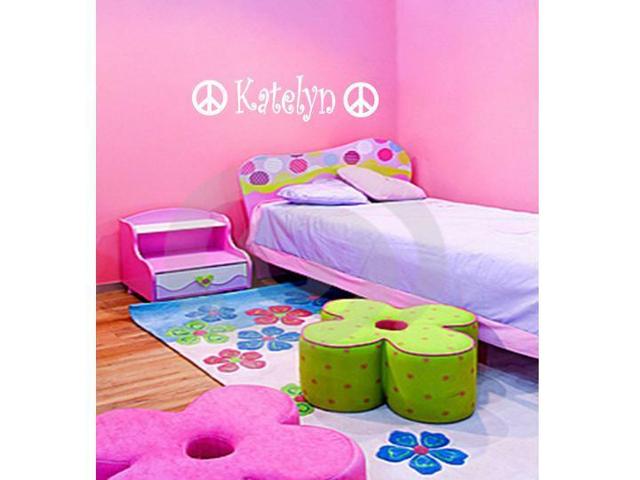 Peace Sign Bedroom Accessories: GIRLS NAME & PEACE SIGN Vinyl Sticker Decal Room Decor