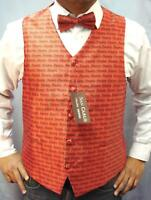 MEN'S QUALITY RED MUSIC NOTES WAISTCOAT & BOWTIE SET