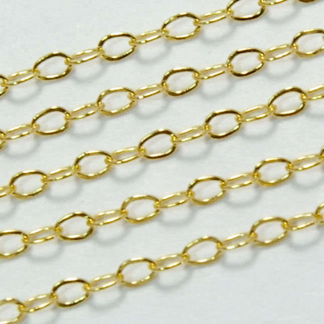 14k Gold Filled Bulk Chain 1.5mmx2mm Flat link (by foot ...