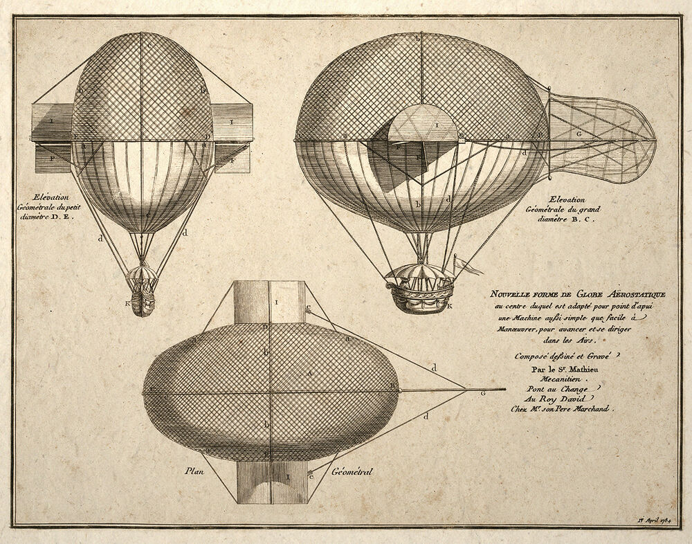 steampunk wall art poster print french airship balloon drawing ebay. Black Bedroom Furniture Sets. Home Design Ideas
