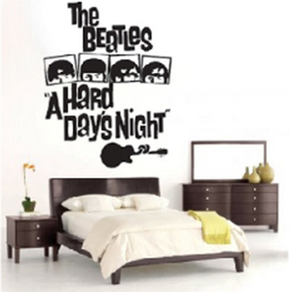 The beatles a hard days night wall decor decal sticker ebay for Beatles bedroom ideas