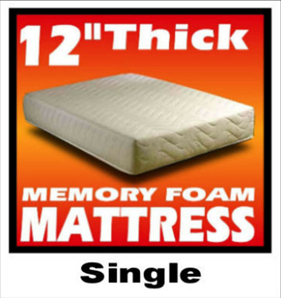 12 inch thick 3ft single size memory foam mattress ebay. Black Bedroom Furniture Sets. Home Design Ideas