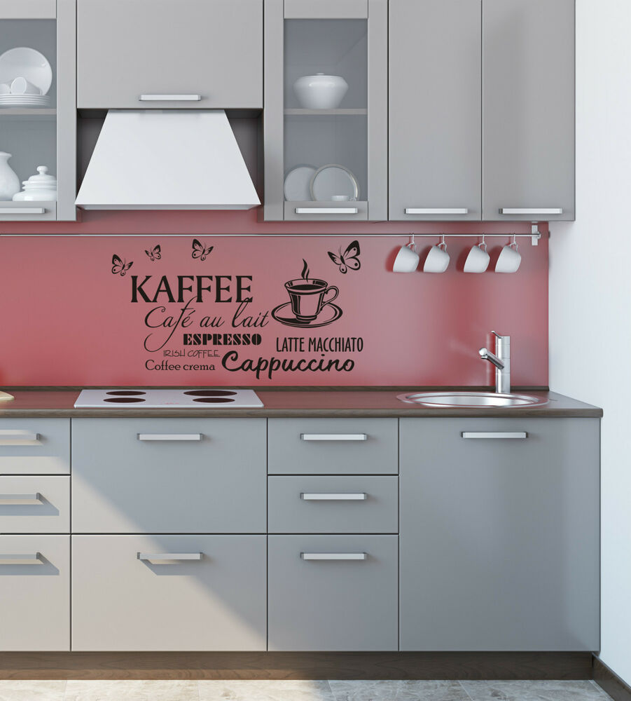 wandtattoo k che kaffee cappuccino espresso wandsticker kaffeetasse ebay. Black Bedroom Furniture Sets. Home Design Ideas