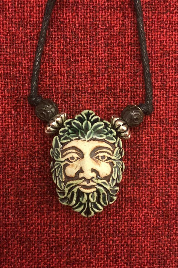 Celtic Greenman Armband: Green Man Ceramic Celtic Greenman Wicca Pagan SCA LARP
