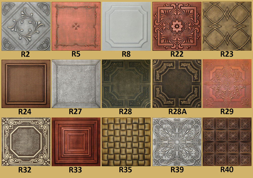 Tin look faux ceiling tiles 20x20 different colors ebay Different design and colors of tiles
