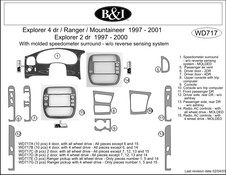 Ford Ranger 1997 1998 1999 2000 2001 Dash Trim Kit G Ebay