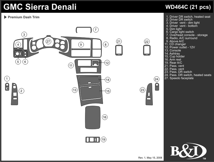 gmc sierra denali 2002 dash trim kit c