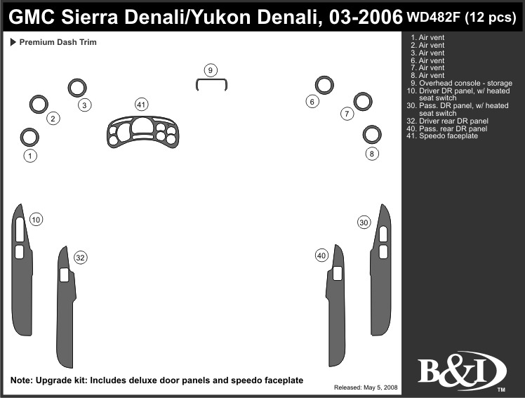 gmc sierra denali 2003 2004 2005 2006 dash trim kit f