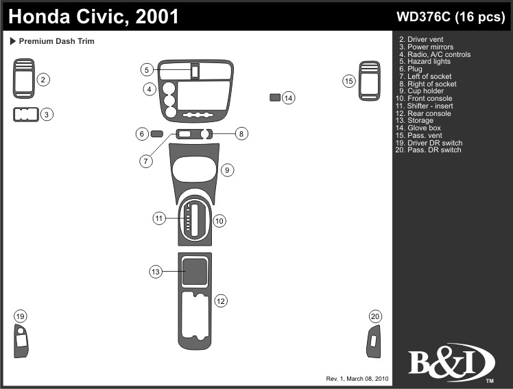 honda civic 2001 dash trim kit c