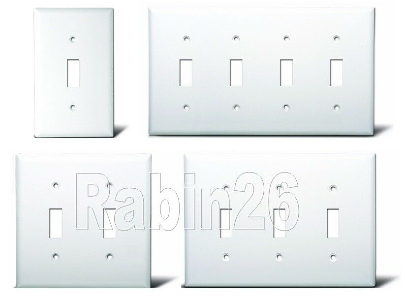 switch plug plastic wall cover plate 1 2 3 4 gang white ebay. Black Bedroom Furniture Sets. Home Design Ideas