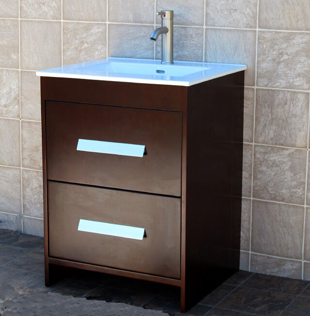 24 Bathroom Vanity Cabinet Ceramic Top Sink Faucet Ns1 Ebay