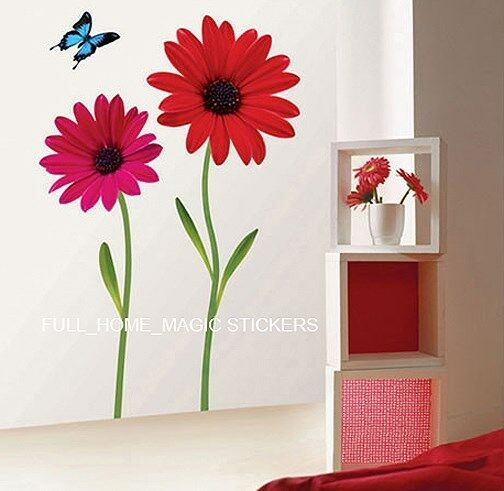 red flower butterfly wall stickers wall decals large ebay