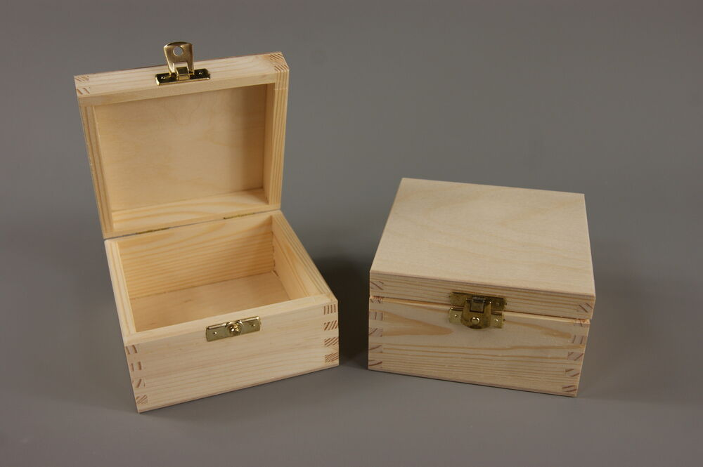 Plain Wood Wooden Trinket Storage Box Jewellery P12 Ebay